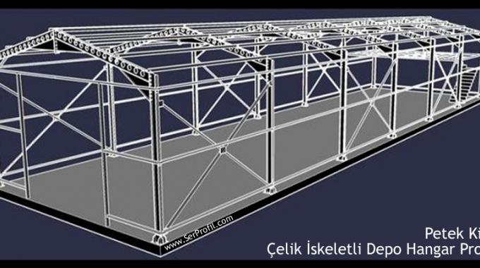 Petek Kirişli Çelik İskeletli Depo Hangar Projesi
